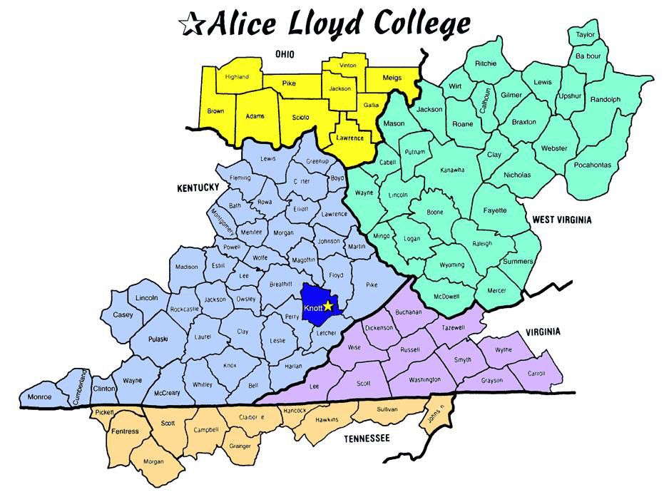 Our Service Area Alice Lloyd College - Map of kentucky with counties