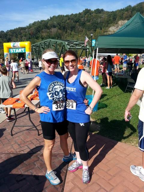 Cindy Stepp, left, at the Run for the Hills 5k race.